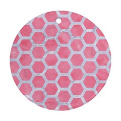 HEXAGON2 WHITE MARBLE & PINK WATERCOLOR Ornament (Round)