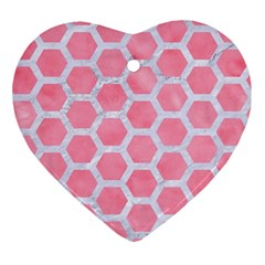 HEXAGON2 WHITE MARBLE & PINK WATERCOLOR Ornament (Heart)