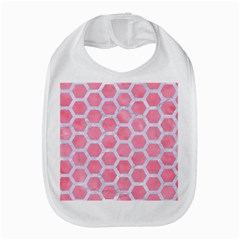 HEXAGON2 WHITE MARBLE & PINK WATERCOLOR Bib
