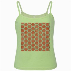HEXAGON2 WHITE MARBLE & PINK WATERCOLOR Green Spaghetti Tank