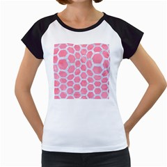 HEXAGON2 WHITE MARBLE & PINK WATERCOLOR Women s Cap Sleeve T