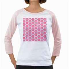 HEXAGON2 WHITE MARBLE & PINK WATERCOLOR Girly Raglans