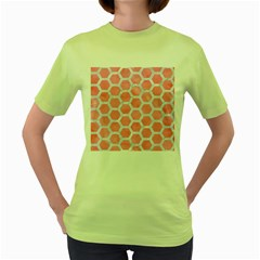 HEXAGON2 WHITE MARBLE & PINK WATERCOLOR Women s Green T-Shirt