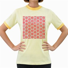 HEXAGON2 WHITE MARBLE & PINK WATERCOLOR Women s Fitted Ringer T-Shirts