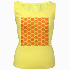 HEXAGON2 WHITE MARBLE & PINK WATERCOLOR Women s Yellow Tank Top