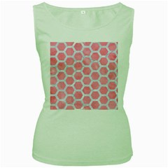 HEXAGON2 WHITE MARBLE & PINK WATERCOLOR Women s Green Tank Top