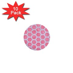 HEXAGON2 WHITE MARBLE & PINK WATERCOLOR 1  Mini Buttons (10 pack)