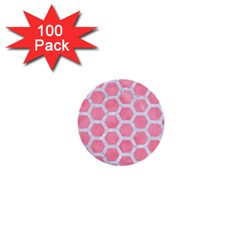 HEXAGON2 WHITE MARBLE & PINK WATERCOLOR 1  Mini Buttons (100 pack)