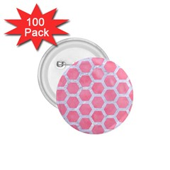 HEXAGON2 WHITE MARBLE & PINK WATERCOLOR 1.75  Buttons (100 pack)