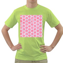 HEXAGON2 WHITE MARBLE & PINK WATERCOLOR Green T-Shirt