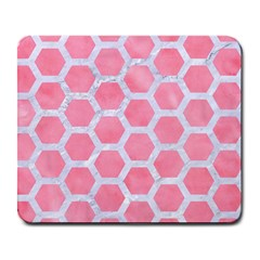 HEXAGON2 WHITE MARBLE & PINK WATERCOLOR Large Mousepads