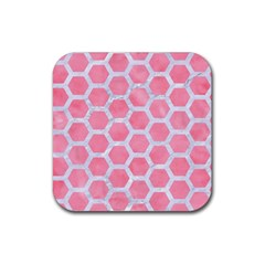 HEXAGON2 WHITE MARBLE & PINK WATERCOLOR Rubber Coaster (Square)