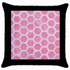 HEXAGON2 WHITE MARBLE & PINK WATERCOLOR Throw Pillow Case (Black)