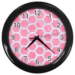 HEXAGON2 WHITE MARBLE & PINK WATERCOLOR Wall Clocks (Black)
