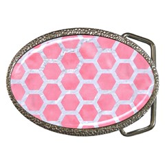 HEXAGON2 WHITE MARBLE & PINK WATERCOLOR Belt Buckles