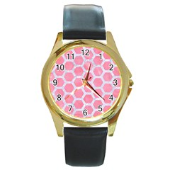 HEXAGON2 WHITE MARBLE & PINK WATERCOLOR Round Gold Metal Watch
