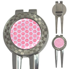 HEXAGON2 WHITE MARBLE & PINK WATERCOLOR 3-in-1 Golf Divots
