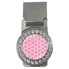 HEXAGON2 WHITE MARBLE & PINK WATERCOLOR Money Clips (CZ)