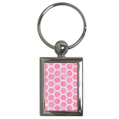 HEXAGON2 WHITE MARBLE & PINK WATERCOLOR Key Chains (Rectangle)