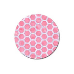 HEXAGON2 WHITE MARBLE & PINK WATERCOLOR Magnet 3  (Round)