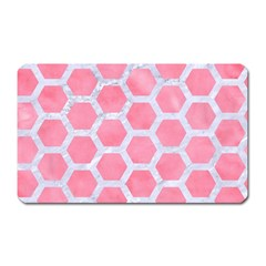 HEXAGON2 WHITE MARBLE & PINK WATERCOLOR Magnet (Rectangular)