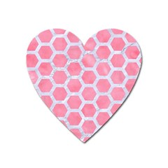 HEXAGON2 WHITE MARBLE & PINK WATERCOLOR Heart Magnet