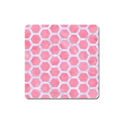 HEXAGON2 WHITE MARBLE & PINK WATERCOLOR Square Magnet