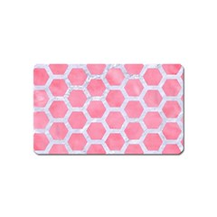 HEXAGON2 WHITE MARBLE & PINK WATERCOLOR Magnet (Name Card)