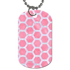 HEXAGON2 WHITE MARBLE & PINK WATERCOLOR Dog Tag (One Side)