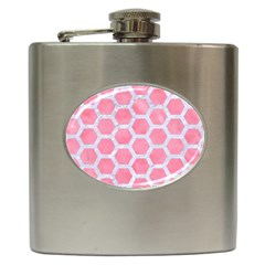 HEXAGON2 WHITE MARBLE & PINK WATERCOLOR Hip Flask (6 oz)