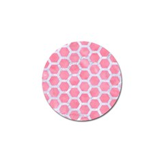 HEXAGON2 WHITE MARBLE & PINK WATERCOLOR Golf Ball Marker
