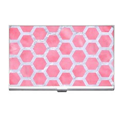 HEXAGON2 WHITE MARBLE & PINK WATERCOLOR Business Card Holders