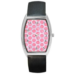 HEXAGON2 WHITE MARBLE & PINK WATERCOLOR Barrel Style Metal Watch