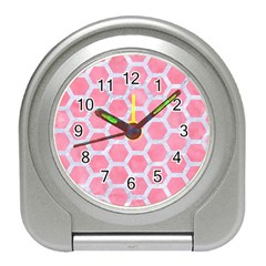 HEXAGON2 WHITE MARBLE & PINK WATERCOLOR Travel Alarm Clocks