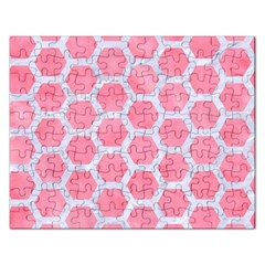 HEXAGON2 WHITE MARBLE & PINK WATERCOLOR Rectangular Jigsaw Puzzl