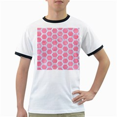 HEXAGON2 WHITE MARBLE & PINK WATERCOLOR Ringer T-Shirts
