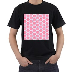 HEXAGON2 WHITE MARBLE & PINK WATERCOLOR Men s T-Shirt (Black) (Two Sided)