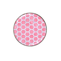 HEXAGON2 WHITE MARBLE & PINK WATERCOLOR Hat Clip Ball Marker