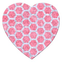 HEXAGON2 WHITE MARBLE & PINK WATERCOLOR Jigsaw Puzzle (Heart)