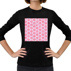 HEXAGON2 WHITE MARBLE & PINK WATERCOLOR Women s Long Sleeve Dark T-Shirts