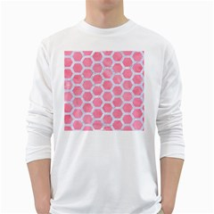 HEXAGON2 WHITE MARBLE & PINK WATERCOLOR White Long Sleeve T-Shirts