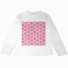 HEXAGON2 WHITE MARBLE & PINK WATERCOLOR Kids Long Sleeve T-Shirts