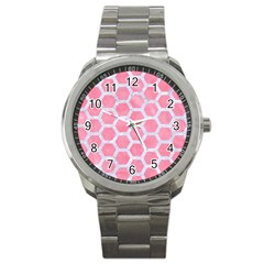 HEXAGON2 WHITE MARBLE & PINK WATERCOLOR Sport Metal Watch