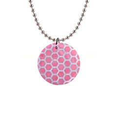 HEXAGON2 WHITE MARBLE & PINK WATERCOLOR Button Necklaces