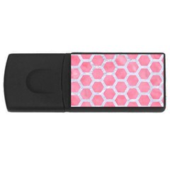 HEXAGON2 WHITE MARBLE & PINK WATERCOLOR Rectangular USB Flash Drive