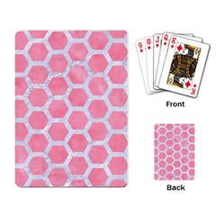 HEXAGON2 WHITE MARBLE & PINK WATERCOLOR Playing Card