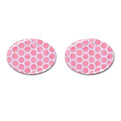 HEXAGON2 WHITE MARBLE & PINK WATERCOLOR Cufflinks (Oval)
