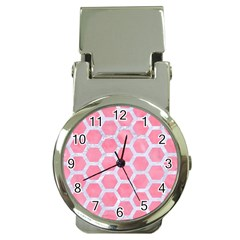 HEXAGON2 WHITE MARBLE & PINK WATERCOLOR Money Clip Watches