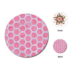 HEXAGON2 WHITE MARBLE & PINK WATERCOLOR Playing Cards (Round)