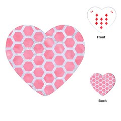 HEXAGON2 WHITE MARBLE & PINK WATERCOLOR Playing Cards (Heart)